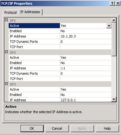 7. Scroll down to locate the IP All section of the IP Addresses tab, and note the value for TCP Dynamic Ports.