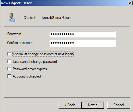 6. Enter and confirm a password for the service account, uncheck the User must change