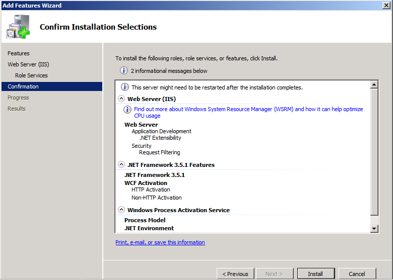 10. On the Installation Results page, verify the installation was successful, and then click Close. Close Server Manager.
