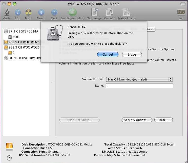 STEP4: After you hit Enter, the dialog Erase Disk will appear. Please click Erase to begin formatting your hard drive.