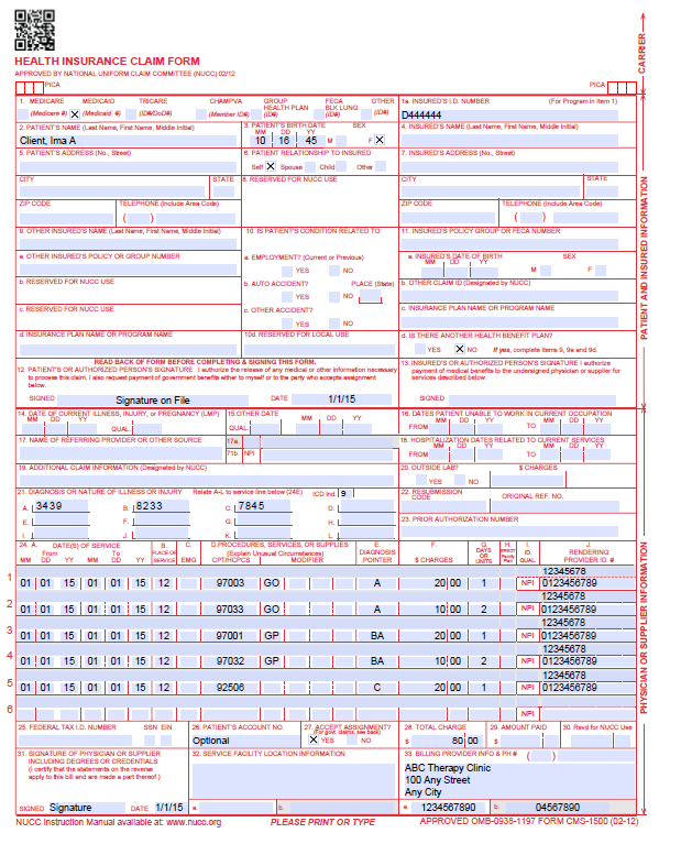 Outpatient physical and occupational therapy fee for service billing cms 1500 otpt claim spiritdancerdesigns Choice Image