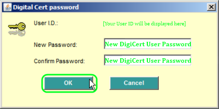 Certificate Request window: After clicking the OK button, you will be prompted to create a Digital Certificate Password.