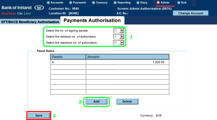 4. Setting Payments Authorisation Panel and Limits Setting up the number of Users you wish to authorise payments and the limits on the amount that each User can transfer using Business On Line.