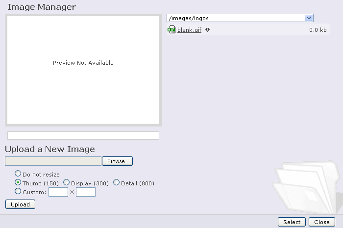 "118 E-Commerce Help Manual Navigate to the desired image on the left by clicking the Browse button. The path to your file will appear in the ""Upload a New Image"" text box."