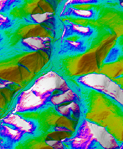Relief Analysis: Examples TWI Topographic wetness index is a ratio between the specific catchment area and slope.