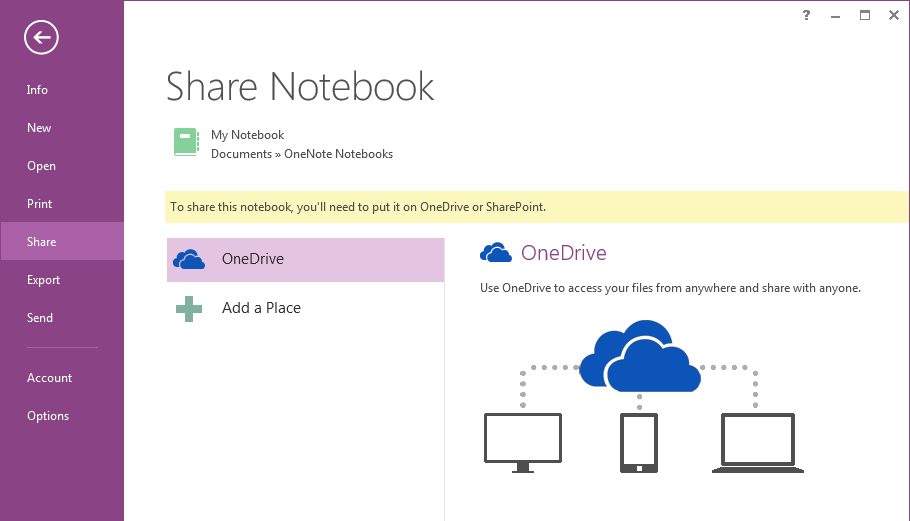 Keep your notes in the cloud If you re brand-new to OneNote, you ll be asked to connect to the cloud, where OneNote will create your first notebook.