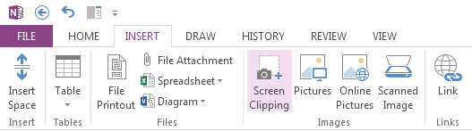 Capture anything with Screen Clippings Meet the new Send to OneNote An easy way to bring stuff into OneNote is to insert a screen clipping, which lets you capture anything on your computer screen so