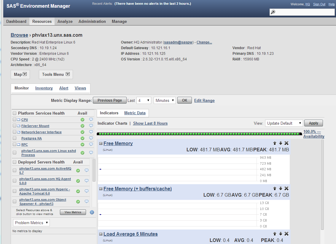 Figure 3 SAS Environment Manager Monitoring Data: Host Platform Operating System Resources Oracle HotSpot Java Tools and Features (All Platforms except AIX) The SAS 9.