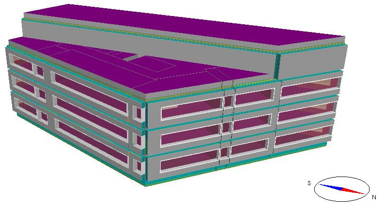 Fig. 2. IDA-ICE simulation model of the reference four storey office building with modelled heated net floor area of 2750 m 2. 2.3.