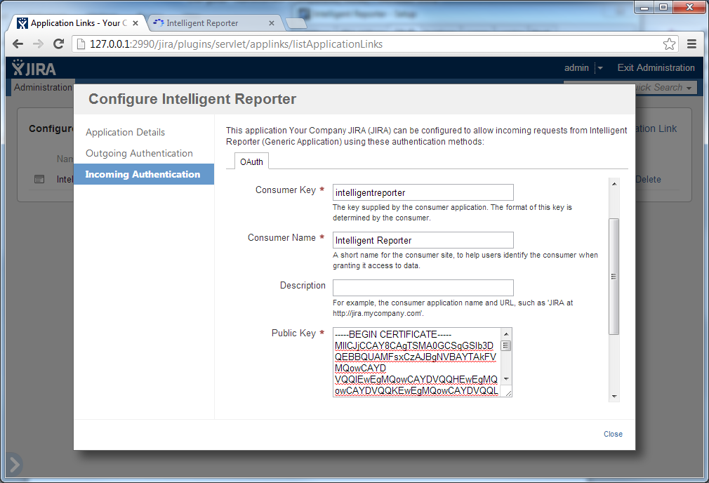 Intelligent Reporter Installation guide 9. Fill in the details in the JIRA configuration screen from the Intelligent Reporter setup dialog, and then click the Save button. 10.