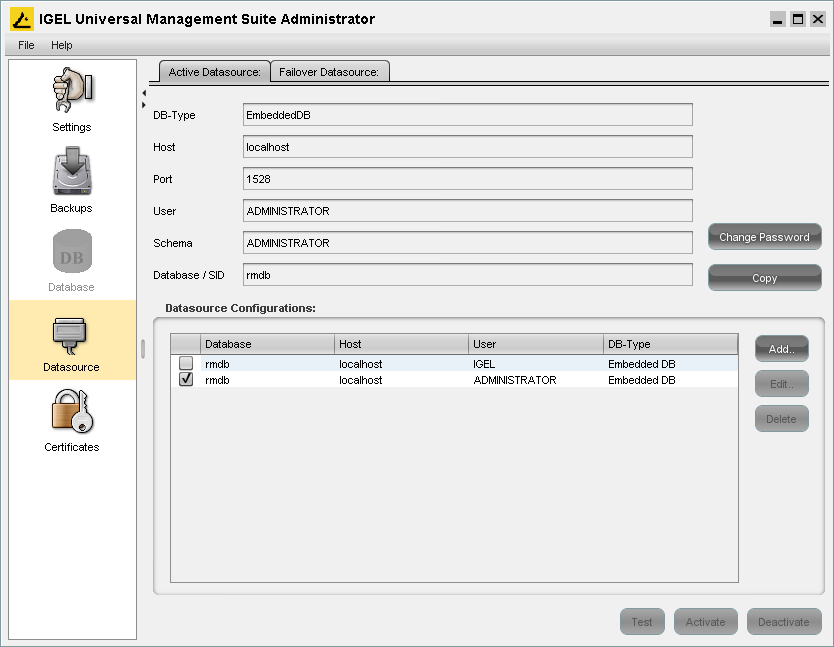 IGEL TEL Technology GmbH IGEL Universal Management Suite Installation 7 7 Setting up a new data source When installation type without database has been selected, initially no database is configured