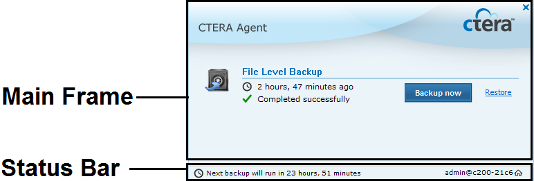 Using the CTERA Agent in Appliance Mode 3 If local backup is currently running, it is paused. All future automatic backups for the CTERA Agent are suspended.