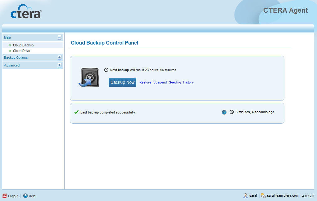 Using the CTERA Agent in Cloud Agent Mode 4 Enter the user name and password of an administrator or backup operator on this machine.