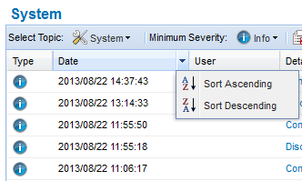 Using the CTERA Agent in Cloud Agent Mode 4 An arrow appears in the right side of the column heading. b Click on the arrow, then click on the desired sort order in the drop-down list.