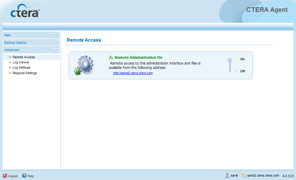 Using the CTERA Agent in Cloud Agent Mode 4 A link appears, which you can click on to view a remote management page.