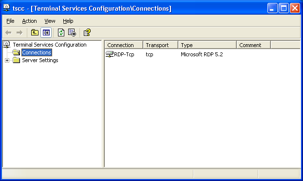 Pre- Configuration MS Terminal Server Settings With Terminal Services Configuration, you can reconfigure the properties of the RDP-TCP connection, including limiting the amount of time client