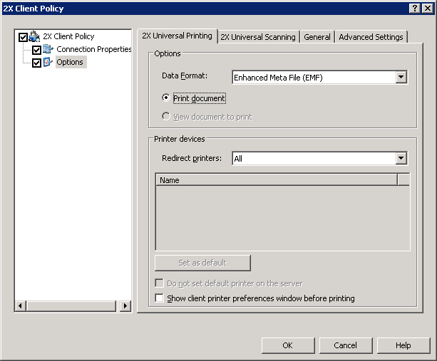 2X Client Policy Option Configuring the 2X Client Options from the 2X Console Please refer to the