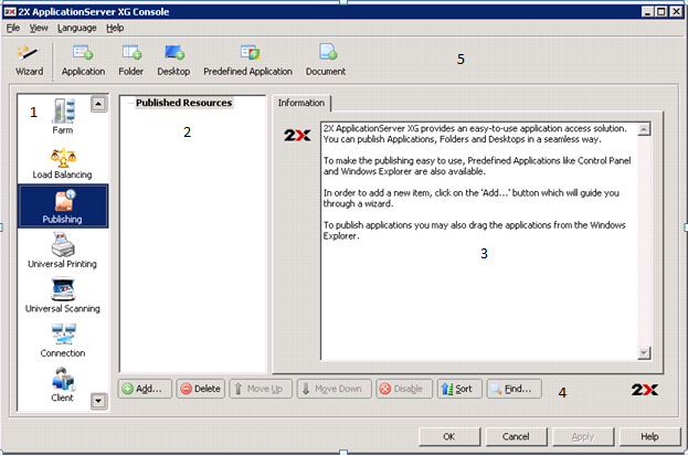 Console Environment Console Environment/Publishing 1. The Navigation Bar enables you to navigate through the main features offered by 2X ApplicationServer Console.