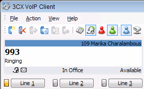 Answering Calls As soon as a call comes in, 3CX VOIP client will ring and show the incoming call on the screen of the phone.
