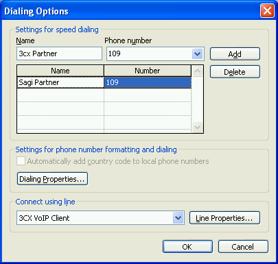 Screenshot 18 - The Dialing Options dialog 3. In the section Connect using line, select the entry 3CX VoIP Client. Click OK to exit the dialog. 4.