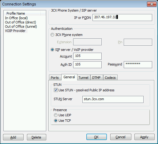 Configuring a connection to a 3 rd party VOIP provider/sip server If you want to create connection that must connect to a VOIP provider, or another SIP server (for example Asterisk), then create the