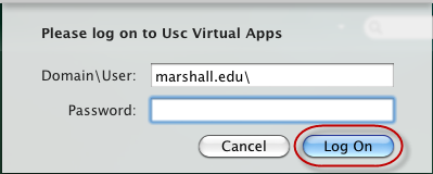 "Click the Citrix Receiver button and select ""Open Citrix Receiver"". (This will be your access point to running the Citrix Receiver.) 2. At Enter your work email or server address, type: apps.marshall."