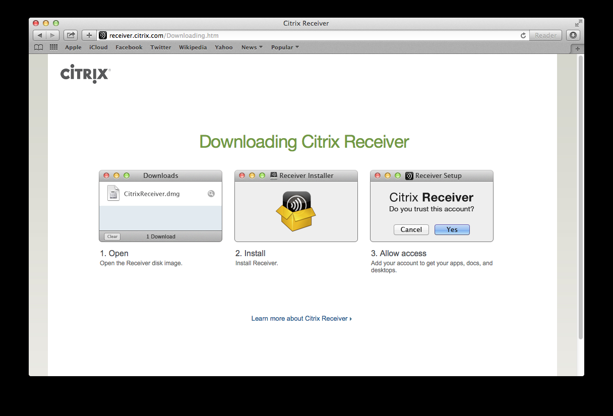 "This will take you here. Click on ""Download Receiver for Mac""."