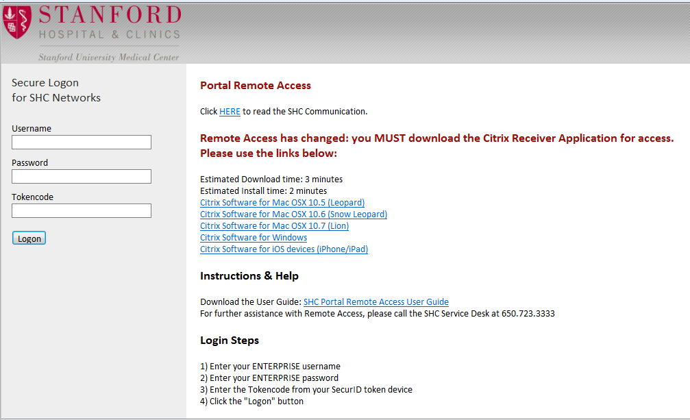 You should now see the following login screen where you will enter your SHC username, password and a RSA token code. 3.