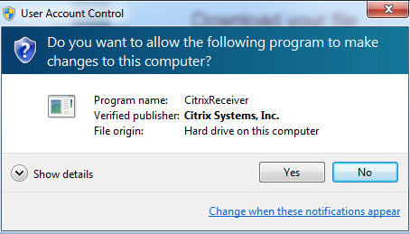 Installing Citrix Receiver for Windows 1.