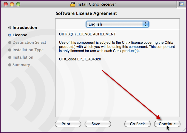 6. Click Continue on the License Agreement.