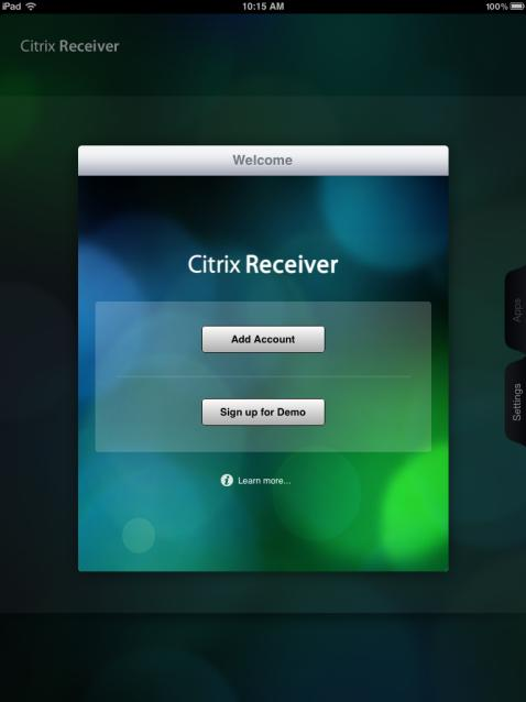 ios / ipad / iphone Installation Citrix Receiver ios 5.6.1 Installing the application is a snap.