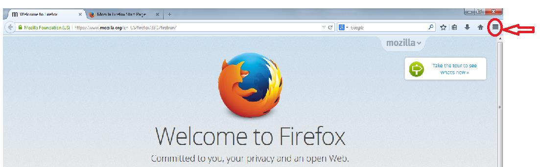 1) Open the Firefox Browser.