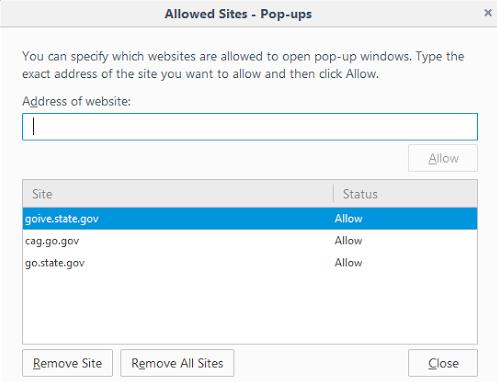 5) While you are in contents, click Exceptions located next to Pop-Ups 6) The Allowed Site- Pop Ups menu will appear.