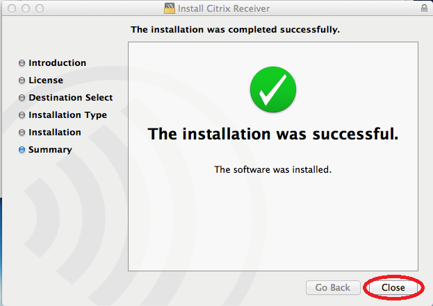 8) Click Install. 9) Citrix will then prompt you to enter the password to your Mac computer.