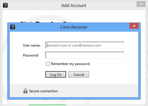 Setting Up Your Citrix Account The first time that Citrix launches, you will need to create an account. The Add Account window is displayed.