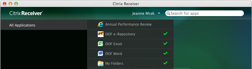 Click on All Applications (1). Click on DOF e-repository to add it to the Citrix Receiver window (2). The DOF e-repository icon appears in the window.