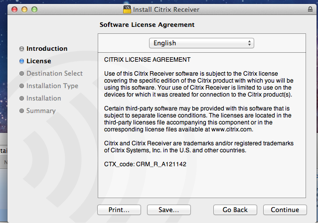 The Citrix Installer window is displayed. Click Continue.