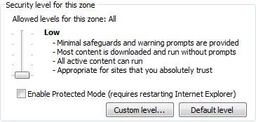 4. Ensure you slide the Security level for this zone bar and set to Low. This will allow ActiveX controls to be run.