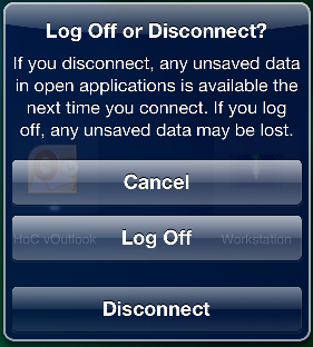 5. Select LOG OFF or DISCONNECT.