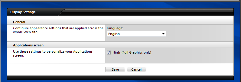 Step 6 Select Display Settings to change the language and to specify if Citrix hints should be displayed. Step 7 Select Session Settings to customize the default window size for Citrix sessions.