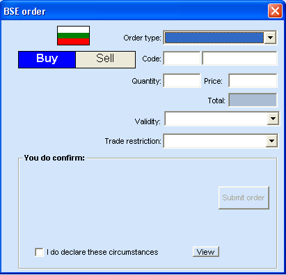 The screen contains the following: a) Order Type allows to choose from various types of orders: - Limit Price orders which are executed at a chosen price or a better one.