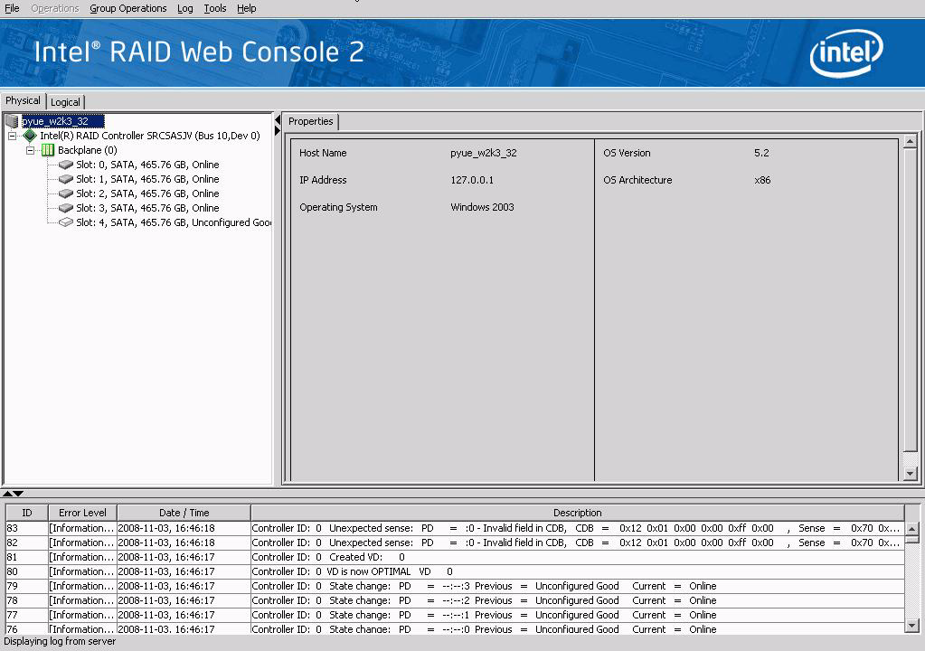 Figure 37. Intel RAID Web Console 2 Main Screen Note: Intel RAID Web Console 2 uses the username and password of your server operating system.