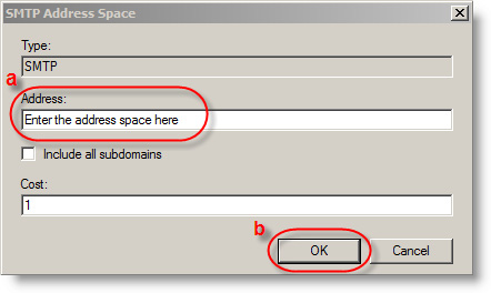 9. In the Address field, type the Address Space (a).