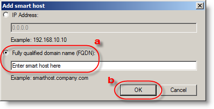 Select the Route mail through the following smart hosts option and then click Add. 12.