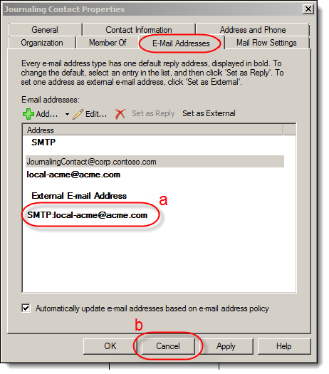 b. Select the Email Addresses tab. If the external email address (a) matches the Journaling Address used during the journaling setup, this Mail Contact must be deleted.