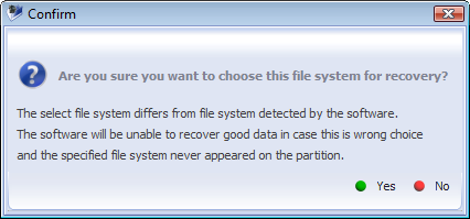 32 Recover file system type box allows to set a file system for the partition. If file system is detected its type is displayed in the Recover file system type box.