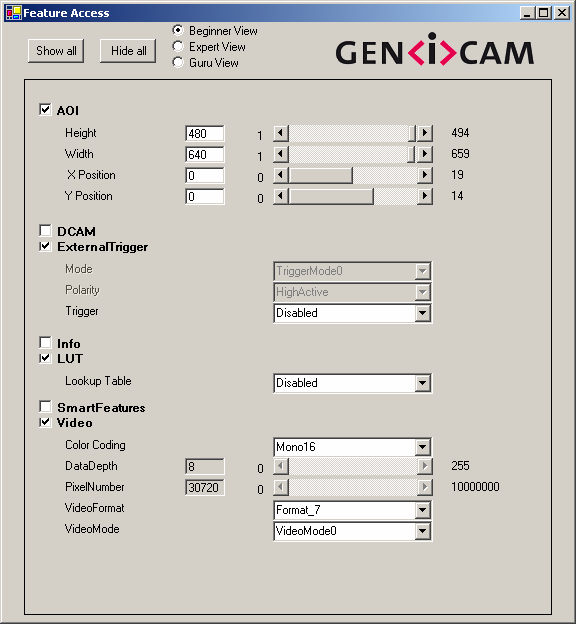 3.3 Graphical User Interface The GenICam API provides all of the means necessary to implement a sophisticated, but nevertheless generic, graphical user interface, such as: A list of features