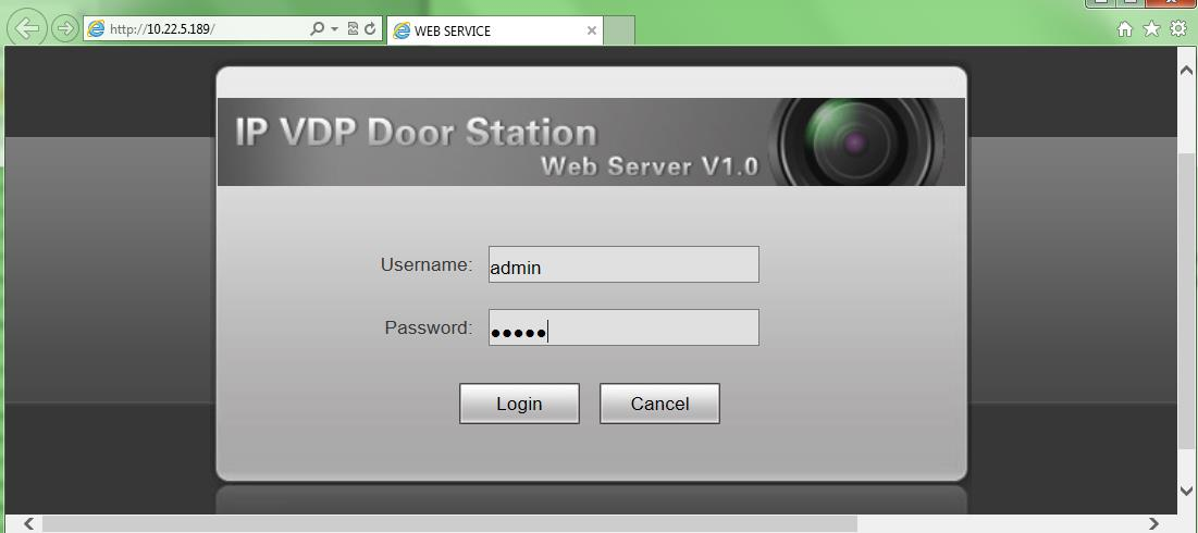 2.4 Web management The door station has a web management for user-friendly settings. To go to the web management open Internet Explorer web browser and go to 192.168.1.110 (default) IP address.