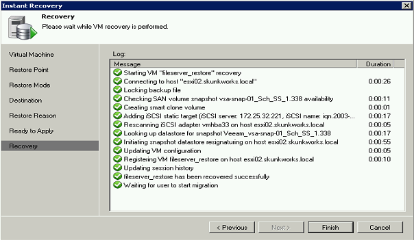Then, since an Instant VM Recovery powers up the restored VM directly in an ESXi host, the procedure asks for specific vsphere information: When the Instant VM recovery is finally launched, there are