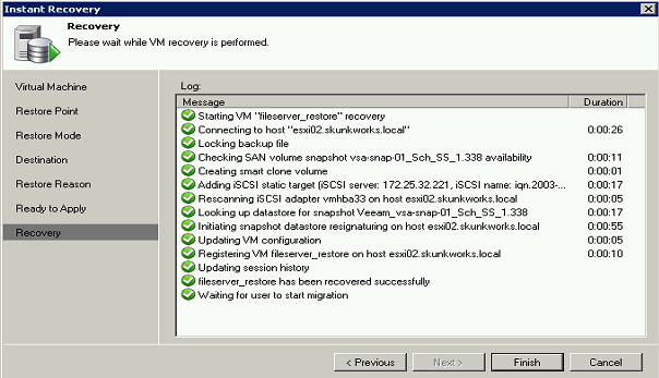 Then, since the restore powers up the VM directly in an ESX(i) host, the procedure asks for specific vsphere information: Finally, when the VM recovery is launched, there are multiple views of